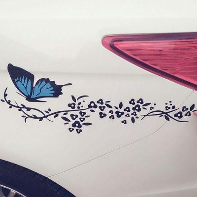 反光包邮个性可爱花蝴蝶汽车贴纸 蝶恋花车身灯眉车头盖装饰贴画