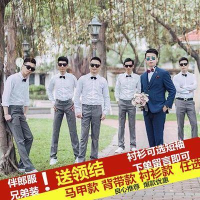 西式伴郎服兄弟装男套装西服外套马甲衬衫西裤三件套新郎结婚礼服