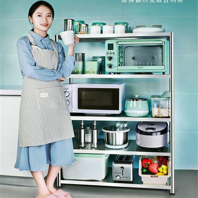 加厚不锈钢置物架厨房收纳架储物架落地多层家用微波炉烤箱架锅架