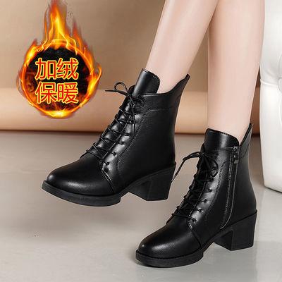 【优质软皮】马丁靴女2019新款雪地靴子女粗跟加绒中跟棉鞋中筒靴
