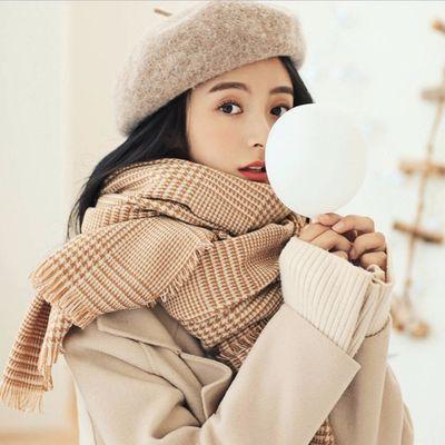 围巾女冬款百搭可爱加厚长款格子披肩两用学生韩版秋冬季羊绒围巾