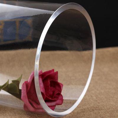 透明直筒平光玻璃落地花瓶富贵竹干花客厅特大号插花花器摆件