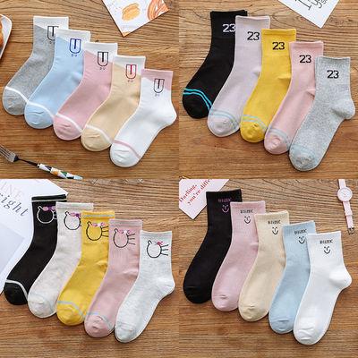 【5-10双】袜子女韩版中筒夏季薄款长袜子女长筒袜女学生短袜船袜