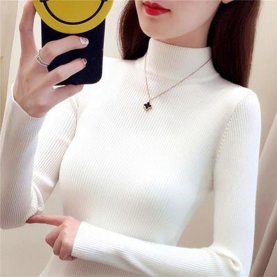 半高领毛衣打底衫女长袖秋冬新款短套头修身紧身针织线衫百搭上衣
