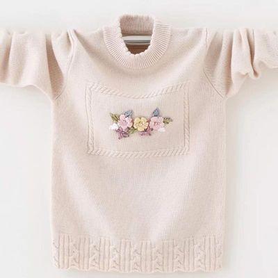 儿童毛衣女童2019新款秋冬打底套头中大童羊绒衫圆领女童装针织衫