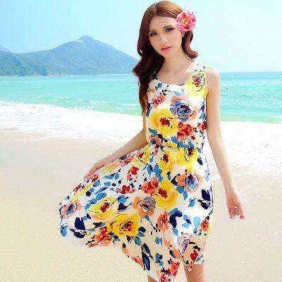 碎花连衣裙雪纺绒女夏季中长短裙海边度假沙滩裙圆领印花舒适裙子