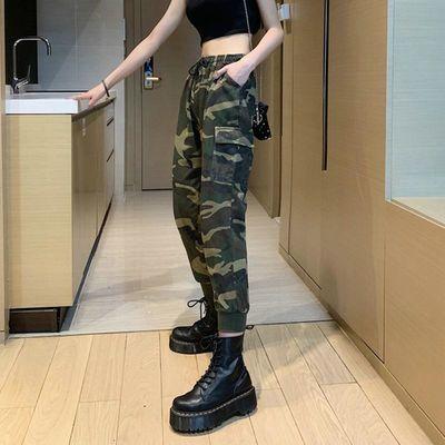 韩版宽松军绿色迷彩工装裤女宽松bf高腰束脚休闲裤九分哈伦裤子
