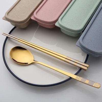 福字304不锈钢勺子筷子二件套便携式学生餐具套装可爱饭勺筷套装