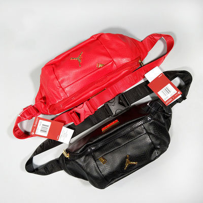 Air Jordan AJ 飞人Logo亮红金PU皮 男女腰包单肩斜挎胸包 HA5507