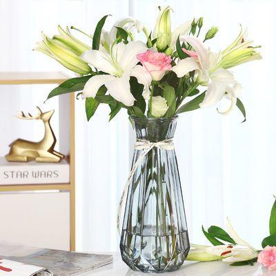 欧式简约特大号玻璃花瓶透明水养富贵竹百合家用花瓶客厅插花摆件