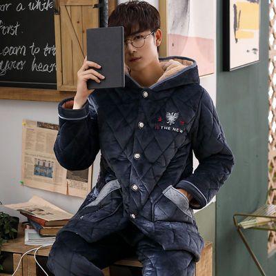 加厚珊瑚绒夹棉睡衣男士冬季中长款连带帽青年棉袄保暖套装加大码