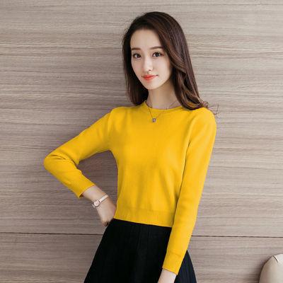 短款毛衣女士百搭新款上衣秋冬韩版长袖打底衫加绒加厚冬季针织衫