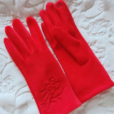 新娘手套结婚婚纱礼服秀禾服手套刺绣短款加厚保暖冬季复古红色女