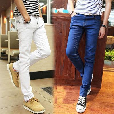 男士白色休闲牛仔裤修身弹力小脚裤韩版显瘦裤