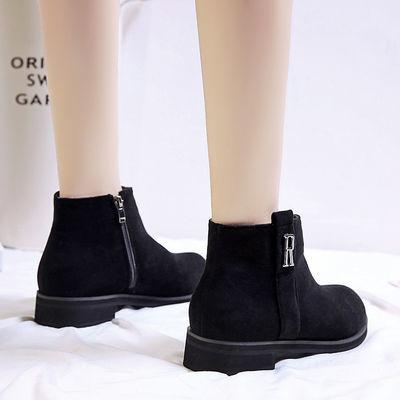 35-44码秋冬新款马丁靴女加大码41休闲靴42短靴皮鞋43韩版粗跟女