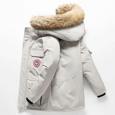 2019冬季新款男士短款大毛领情侣羽绒服短款工装户外加厚外套潮牌