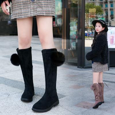 女童长靴秋冬新款2019韩版女孩高筒靴儿童二棉棉长靴公主加绒潮靴