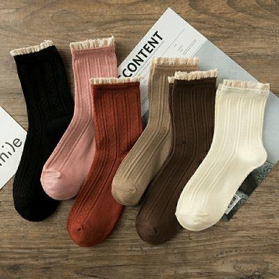 6双袜子女蕾丝花边女神袜保暖复古日韩系女生中筒纯棉可爱公主袜【2月29日发完】