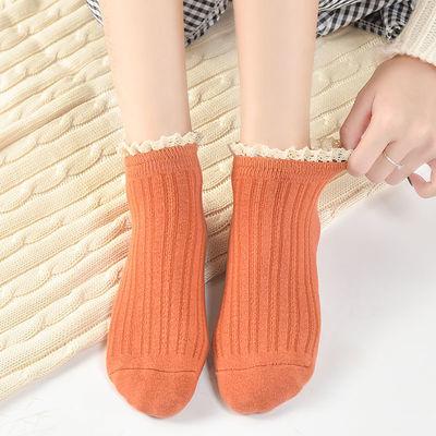 袜子女韩版短袜女船袜日系可爱纯色棉袜蕾丝花边潮流中筒袜公主袜【2月29日发完】