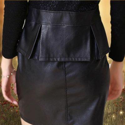 2019春秋季新款修身OL气质蕾丝打底裙打底时尚PU皮裙连衣裙秋天女