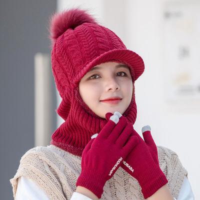 帽子女冬天韩版百搭加绒加厚护耳防风秋冬季保暖针织毛线骑车帽子