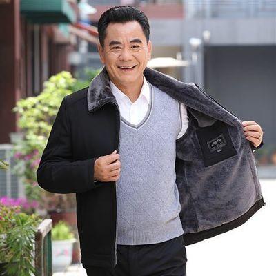 秋冬中年男士夹克外套宽松棉衣中老年人男装衣服加绒加厚爸爸外套