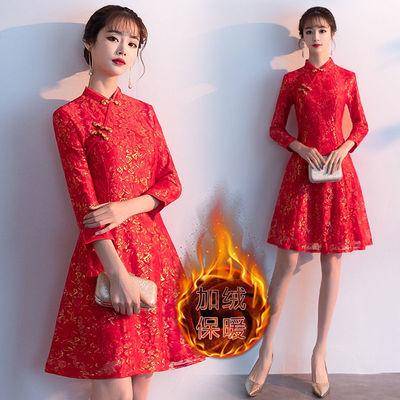 秋冬红色长袖新娘结婚敬酒服加绒加厚回门装孕妇连衣裙订婚女礼服