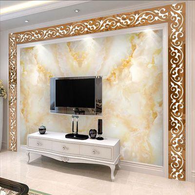 电视背景墙边框框架自粘客厅贴纸镂空立体亚克力镜面墙贴装饰线条