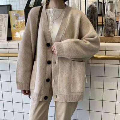 春季新款宽松针织衫上衣短款外套女学生韩版慵懒风外搭毛衣开衫潮