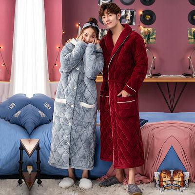 睡袍女冬珊瑚绒三层夹棉加厚加长款睡衣女秋冬季保暖情侣浴袍男士