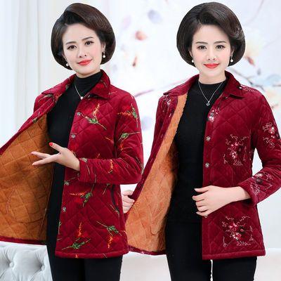 妈妈装秋装外套加绒上衣中年人女装冬装薄棉衣中老年妈妈棉服棉袄