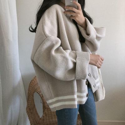 新款针织衫女春秋韩版宽松学生V领慵懒风很仙的上衣洋气毛衣开衫