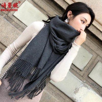 【100%纯羊毛绒】羊绒围巾女冬季加厚保暖两用双面披肩长款围脖潮