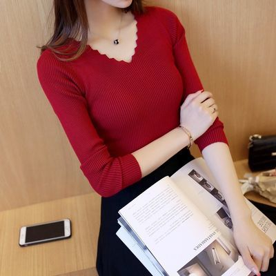 百搭波浪V领打底衫韩版修身显瘦纯色针织衫长袖短款大码毛衣女