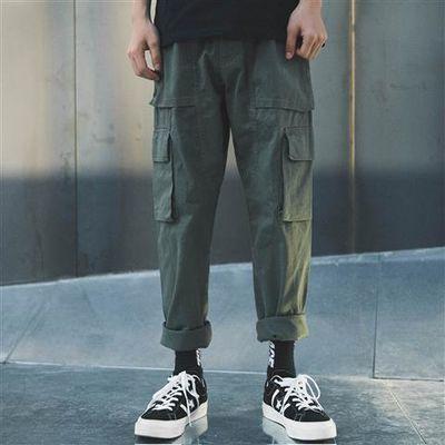 多口袋港风潮牌休闲裤男士工装裤直筒布裤日系韩版男长裤军绿色