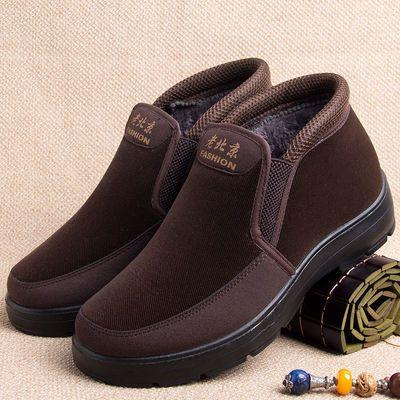 冬季老人棉鞋男士保暖加绒冬天加厚爷爷鞋中老年人休闲高帮爸爸鞋