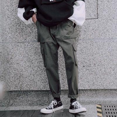 春秋季潮流军绿色大口袋工装裤男士宽松休闲直筒潮牌小脚哈伦长裤
