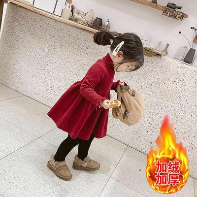 童装女童2020新款洋气红色加厚毛衣裙宝宝公主裙儿童秋冬裙子