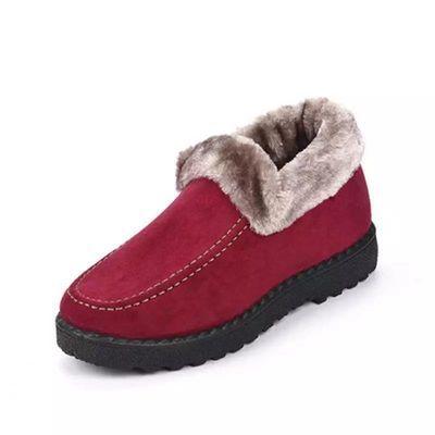 冬季新款老北京布鞋女士棉靴平底加厚防滑妈妈鞋中老年一脚蹬棉鞋