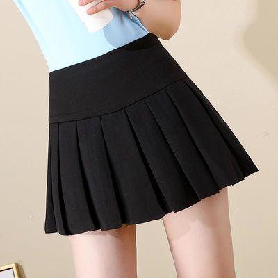 超短裙女学生高腰黑色百褶裙无安全裤内衬迷你半身裙子小矮个子夏