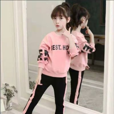 优质新款女童套装春秋冬中大童休闲可爱女孩长袖宝宝衣服可爱韩版