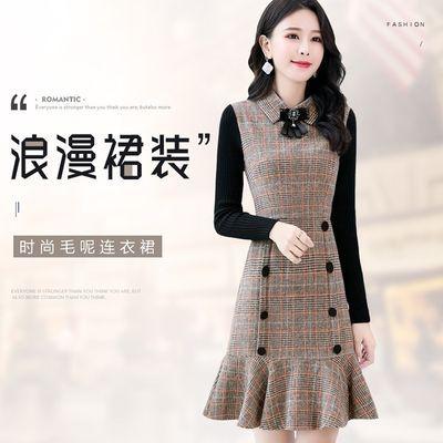 新款[加绒加厚]秋冬装年轻妈妈时尚修身显瘦中长款连衣裙中年女装
