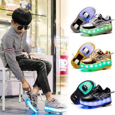 暴走鞋双轮充电滑轮鞋男女儿童轱辘鞋中小学生溜冰鞋带轮的运动鞋