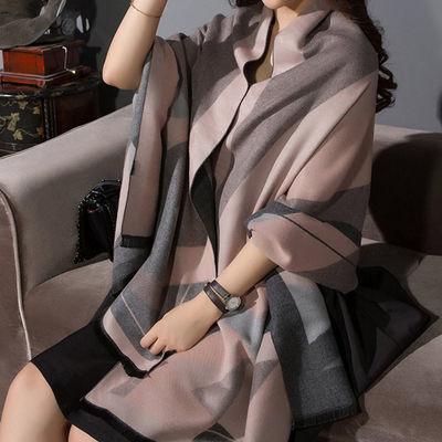 加厚秋冬韩版百搭羊绒质感保暖学生加长双面围巾女格子空调大披肩