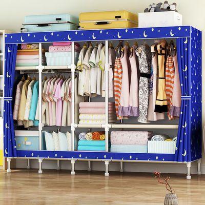 衣柜简易布衣柜钢管非实木大号双人单人衣橱牛津布收纳超大布艺柜