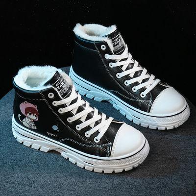 高帮棉鞋女冬季保暖加绒韩版百搭英伦风学生雪地靴冬鞋卡通小白鞋
