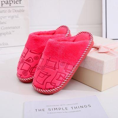 秋冬季棉拖鞋男情侣居家居室内防滑保暖半包跟加厚底月子毛拖鞋女
