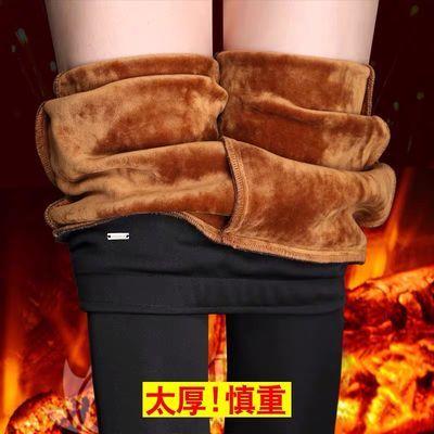 秋冬季女外穿大码羊羔绒打底裤子收腹显瘦黑色弹力高腰加绒小脚裤