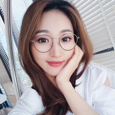 防辐射眼镜珍珠网红女韩版成品近视眼睛架圆框复古学生平光镜