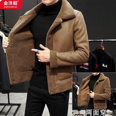 春装男韩版时尚皮毛一体羊羔绒双面穿外套男士上衣服翻领夹克男装